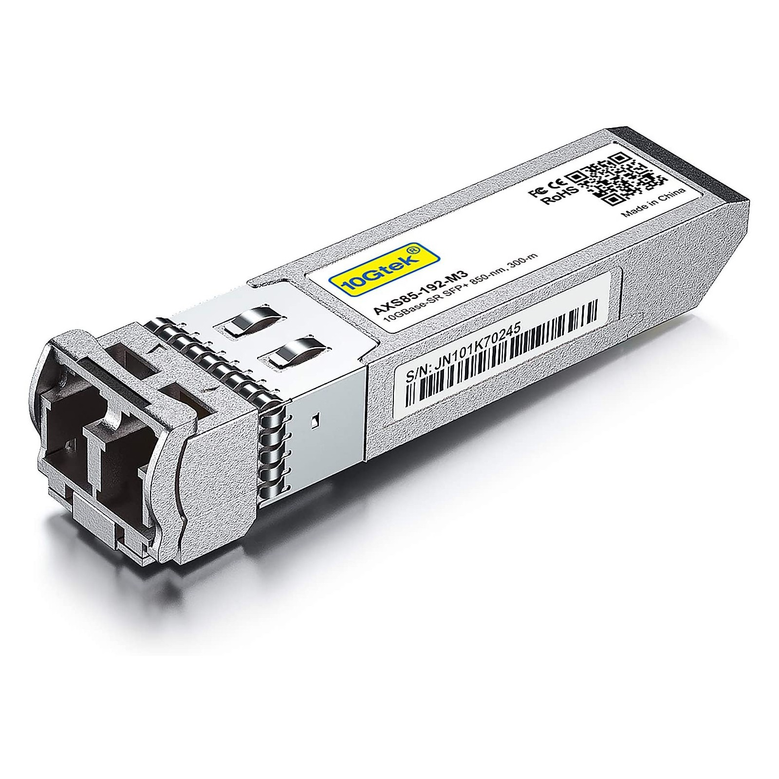 10GBase-SR SFP+ Transceiver, 10G 850nm MMF, up to 300 meters