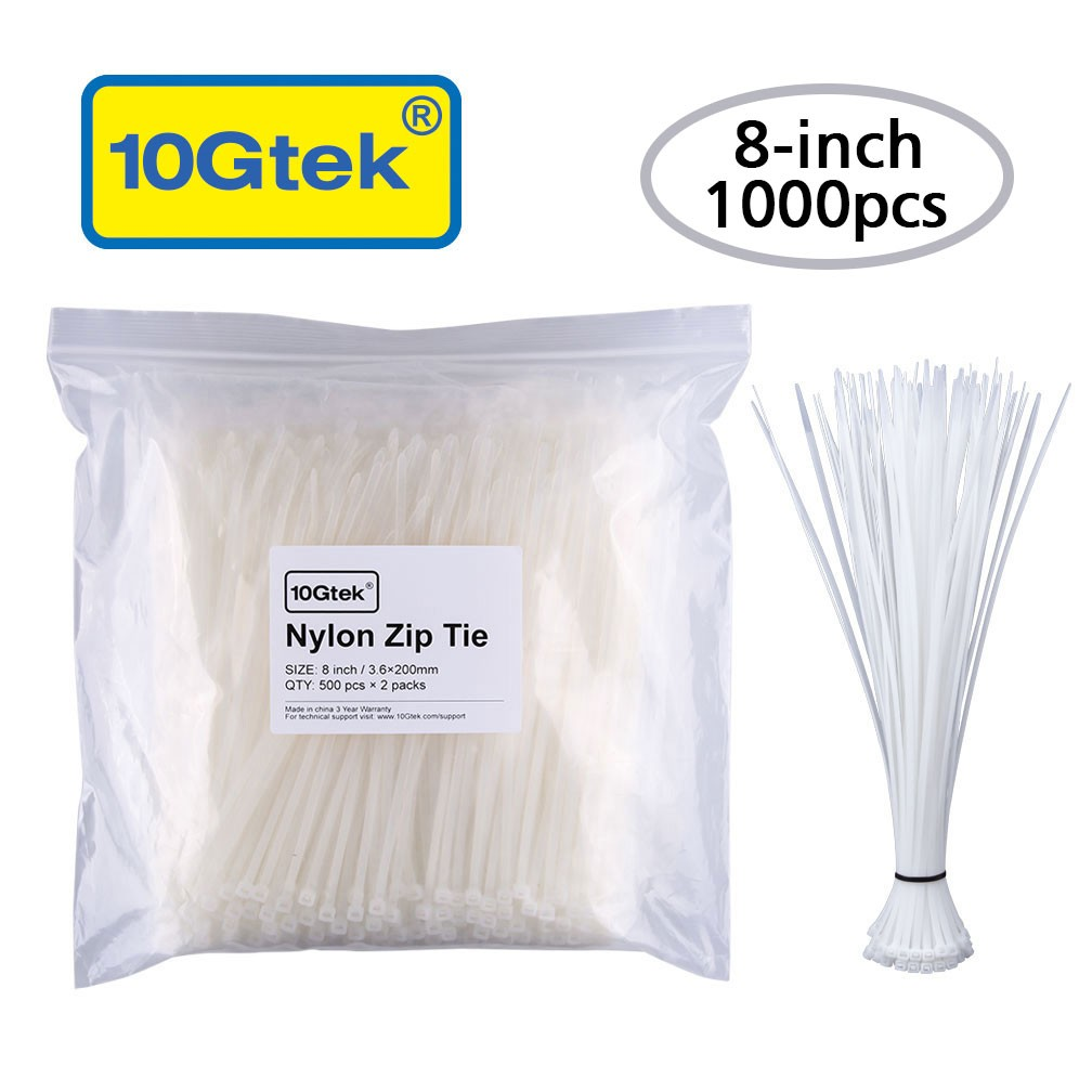 Zip Ties (1000pcs) Self-Locking 8 Inch Nylon Cable Ties in White UL Certificated