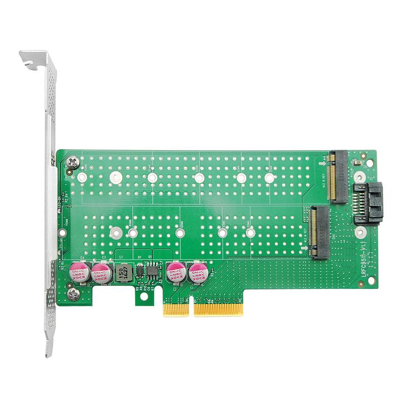 NVMe SSD Adapter Card for M.2, X4, (1) M.2(M Key) and (1) M.2(B Key) connectors