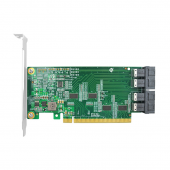 PCIe to NVMe Adapter Card for U.2 SSD (Repeater IC), X16, (4) SFF-8643